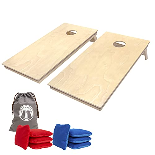 GoSports Tournament Edition Regulation Cornhole Game Set - 4' x 2' Wood Boards with 8 Dual Sided (Slide and Stop) Bean Bags, Natural