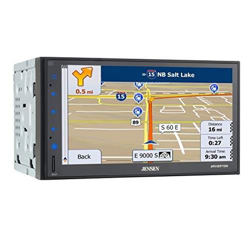 Jensen CMN86 6.8 inch LED Multimedia Touch Screen Double Din Car Stereo |Built-in Navigation | Push to Talk Assistant | Bluetooth | Steering Wheel Control | Front & Rear Camera Inputs | USB & microS