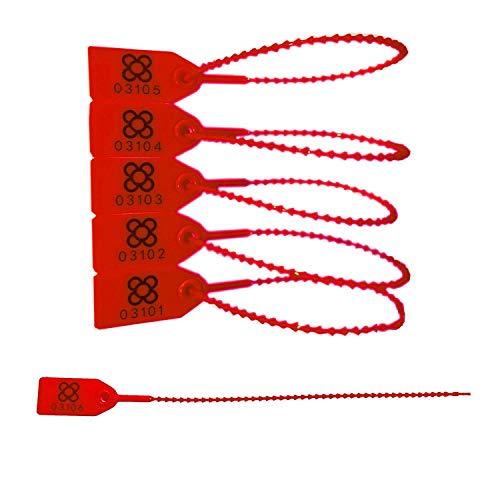 DOJA BARCELONA | Precintos de Seguridad de Plastico Rojos | 100 unidades | 24cm de Largo | Bridas numeradas para maleta, cajas, contenedores, puertas, bolsas, camion, logistica entre otros usos.