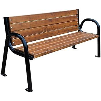Banc de jardin en bois traité teinté Selekt: : Jardin