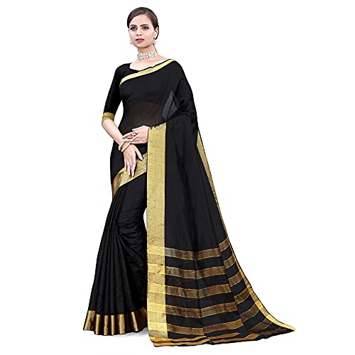 SATTVA Women's Polycotton Saree with Blouse Piece (black_Free size)
