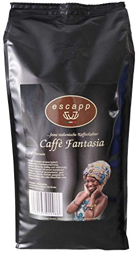 Kaffee escapp Caffè Fantasia, 20% Arabica / 80% Robusta, Espresso, 1000 Gramm, gemahlene Bohnen