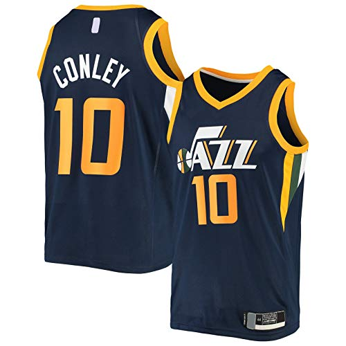 OYFFL Mike Basketball Jersey Conley Bordado Utah Sudadera Jazz Top Sin Mangas #10 Swingman Jersey Azul Marino - Icono Edition-M