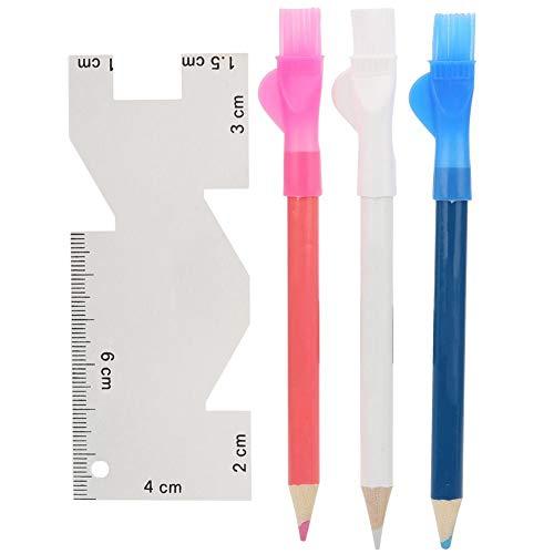 HEEPDD Sewing Tool Kit, metalen liniaal handmatige Caliper Tailor Chalks pen met penseel voor het meten van markeringen, naaien quilten