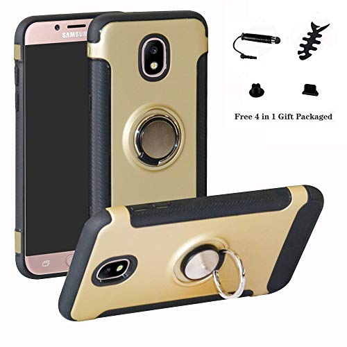 LFDZ Galaxy J7 2017 Anillo Soporte Funda 360 Grados Giratorio Ring Grip con Gel TPU Case Carcasa Fundas para Samsung Galaxy J7 2017 / J730 / J7 Pro Smartphone(Not fit Galaxy J7 2015 / J7 2016),Gold