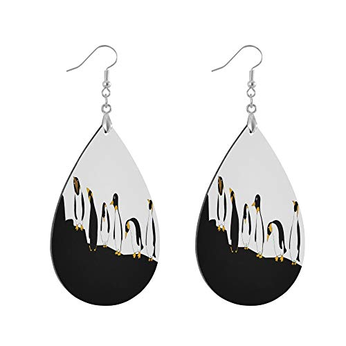 ADMustwin Wooden Earrings Cute Animal Penguin Mountain for Women Girls Silver Plated Copper Earrings Teardrop Earrings Lightweight Dangle Earrings Fashion Jewelry