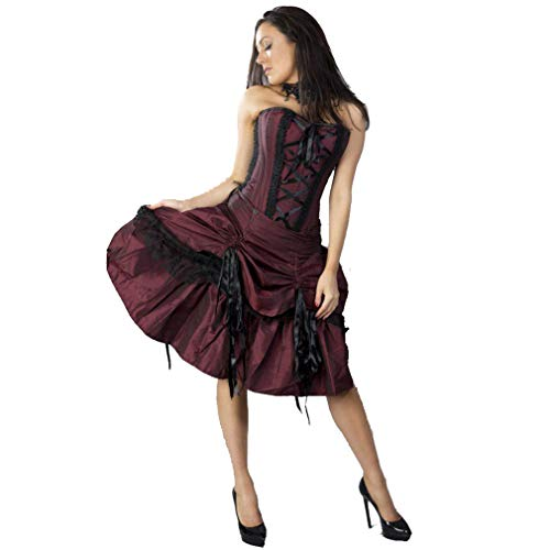 Burleska Korsett Kleid - Angelina Burgunder 36