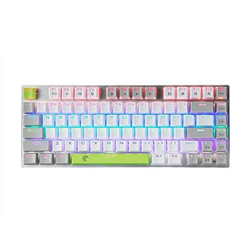 Z-88 Mini Mechanische Tastatur, E-Yooso RGB beleuchtet 81 Tasten Anti-Ghosting Blauer Schalter,Weiß (QWERTY,US-Layout)