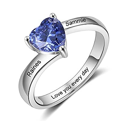 Kalulu Personalized Mother Rings for Women Silver Color Size 6/7/8/9 Thick Ring for Women with Birthstone Charms 1-4 Names Engraved Custom Wedding Rings