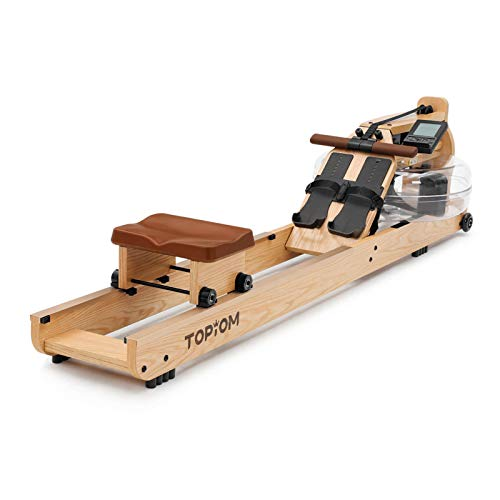TOPIOM Rowing Machine,Home Wooden Water Resistance Rowing Machine for Home Fitness Exercise,with Adjustable Footrest and Bench,with LCD Display (Light Wood)