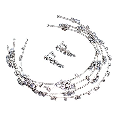 Juego de pendientes de diadema de varias capas de plata con diamantes de imitación para novia, corona de novia (color metálico: plata, tamaño: 14 cm)