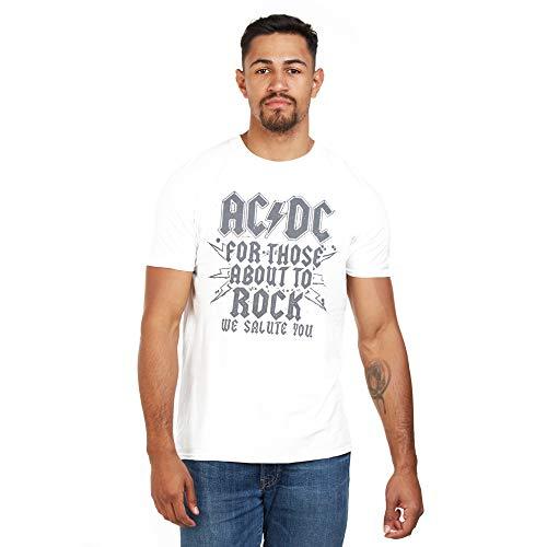 AC/DC Salute Camiseta, Blanco (White White), S para Hombre
