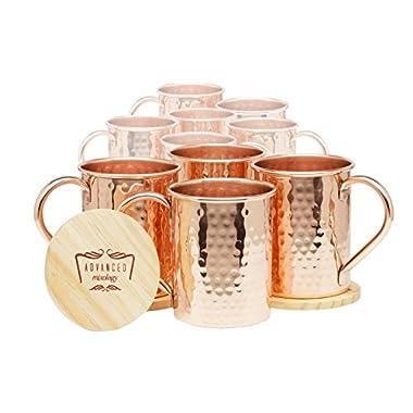 Set of 10 Advanced Mixology 100% Pure Copper Moscow Mule Mugs (16 Oz Each)