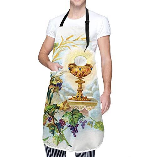Throwpillow Cocina Delantales para Unisexo Chef Litografia di illustrazione di comunione para Restaurante Barbacoa Cocinar Hornear Hotel Jardín Ropa de Trabajo-50X70cm