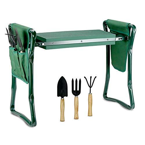 Echaprey Garten-Kniebank und Sitz, mit 2 Werkzeugtaschen und 3 Gartenwerkzeuge, zusammenklappbar, robuste Gartenbank, dicke Polsterung, Kniehocker für Gärtner