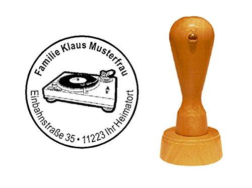 Stempel houten stempel motiefstempel « PLATTENSPELER » met persoonlijk adres - geluidsplaat platenspeler muziek vinyl