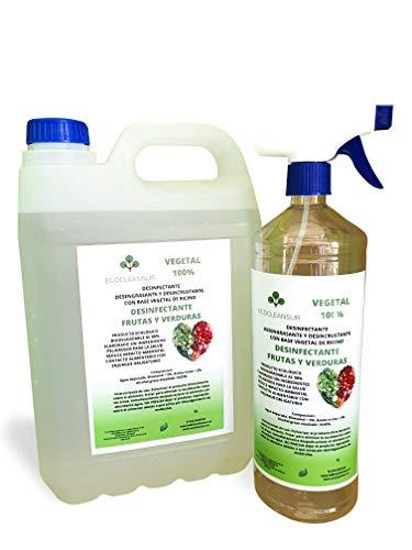 TENPRO CLEAN 5 LITROSDesinfectante para Frutas y Verduras Producto 100% Vegetal a Base de bioetanol y ricino. Sin lejía, no toxico. 5+1L Botella ATOMIZADOR