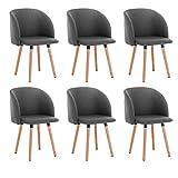 WOLTU 6X Sillas de Comedor Nordicas Estilo Vintage Dining Chairs Juego de 6 Sillas de Cocina Sillas Tapizadas en Lino Silla de Conferencia Silla de Escritorio Gris Oscuro BH120dgr-6