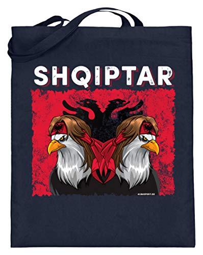 ALBASPIRIT Shqiptar Albaner Wappen Albanischer Adler Albanien Flagge - Jutebeutel (mit langen Henkeln) -38cm-42cm-Deep Blue