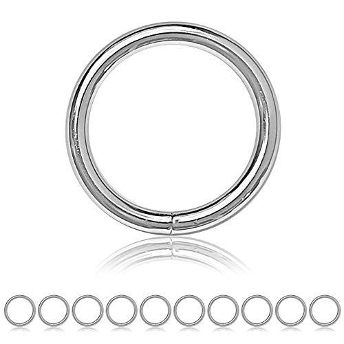 Ganzoo O - Ring Stahl, 10 Stück, 40mm außen, geschweißt Nicht-rostend, für Paracord 550