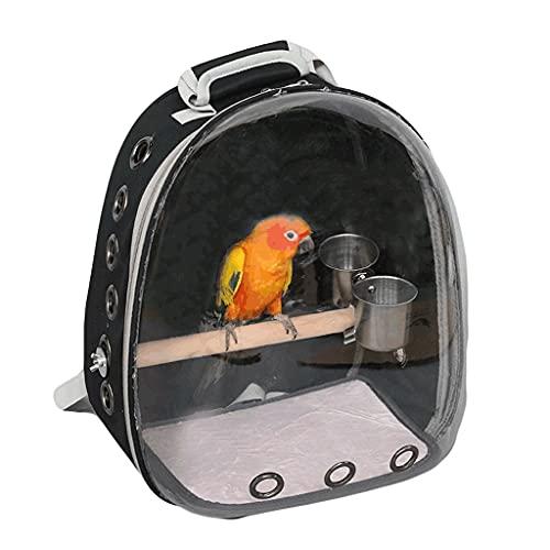 ZANZAN Bird Trasparente Gabbia da Viaggio Portable Backpack Bird Carrier Trasparente Trasparente Trasporto Trasporto con Alimentazione Standing Alimentatore-Nero