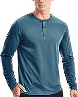 Mens Henley Long Sleeve T Shirts Casual 3 Button Tee Shirt for Men(XL,Dark Slate)