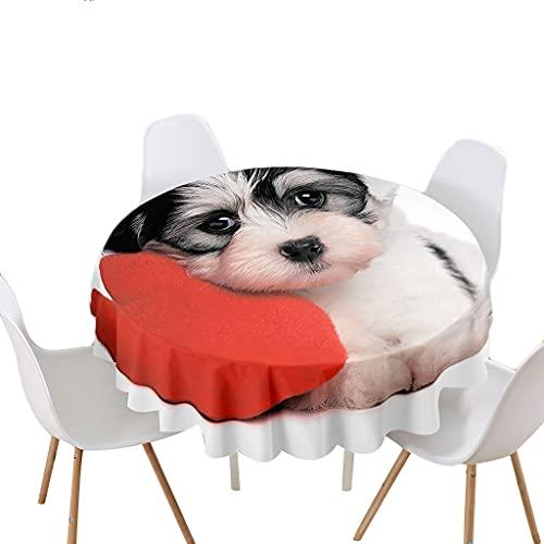 Highdi Impermeable Mantel de Redondo, Antimanchas Lavable Manteles 3D Estampado Animal Moderno Decoración para Salón Cocina Comedor Mesa Exterior (Perro,Redondo 180cm)