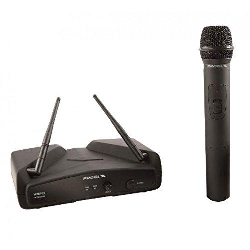 PROEL EIKON WM100M - Radio Microfono Professionale Wireless Sistema VHF a Gelato per canto o Karaoke, Nero