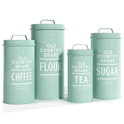 Barnyard Designs Dekorative Aufbewahrungsdosen mit Deckel, Weiß verzinktes Metall, rustikal, Landhausdekor, für Mehl, Zucker, Kaffee, Tee, 4 Stück, 14 x 28 cm mint