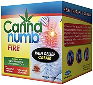Cannanumb Fire Pain Relief Cream, Heat Therapy with Organic Cannabis Sativa (Hemp) Seed Oil and Pain-Fighting Ingredients, Menthol, Camphor, Arnica, Capsicum for Fast and Effective Pain Relief