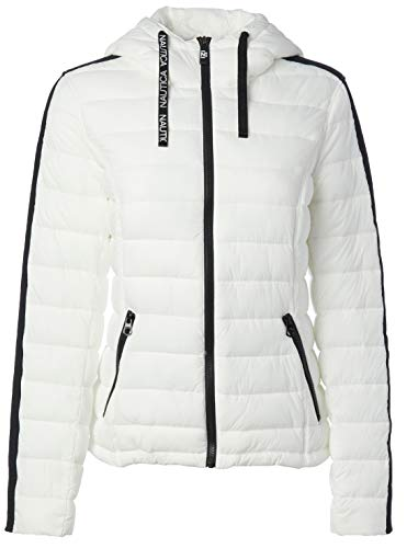 Nautica Damen Short Hooded Packable with Logo Taping On Arm Übergangsjacke, Bright White, X-Groß
