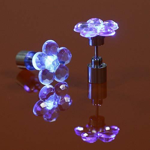 Lai-LYQ Ohrstecker Für Frauen, LED Ohrstecker Blume Ohrringe Für Tanz Weihnachten Halloween Party Geschenk rot