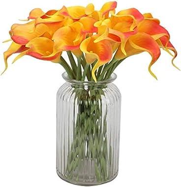 SATYAM KRAFT Artificial Foam Lily Flower Sticks for Home Decoration and Craft (Yellow/Orange Shade, 10 Sticks )