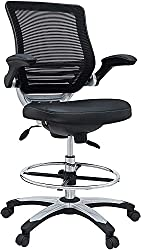 lexmod edge office drafting chair with feet ring mesh back and black