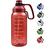 2 Liter Large Mouth Easy-clean BPA free Water Bottle, Handle attach Two Caps Ensure Double Leakproof, Shatterproof Gym Sport Water Jug Motivational Time Marker Ounce Marking To Make Drink Water Fun