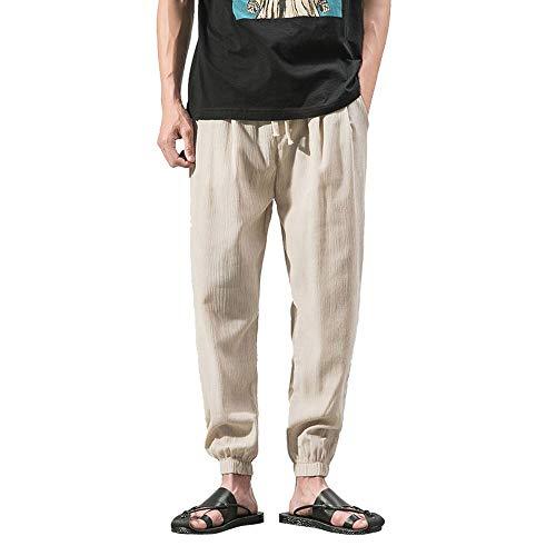 Herren Casual Slim Sporthosen Leinenhose Baggy Harem Pants Strandhosen Leinen Hose Leinen-Hose Lange Bequeme Stoffhose Aus Hochwertiger Leinenmischung Loose Fit Regular(Beige,XL)