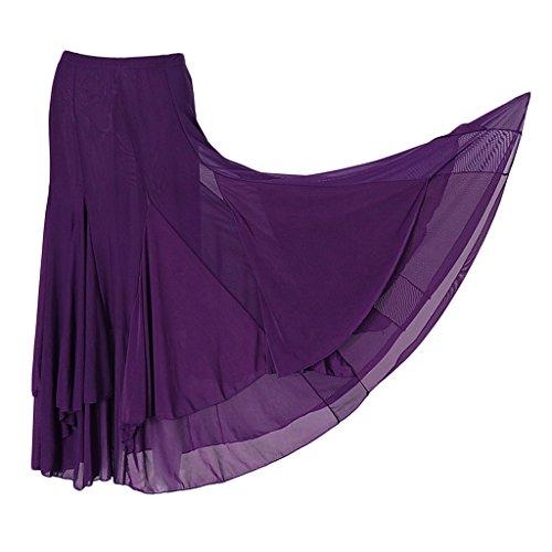 MagiDeal Falda Grande Vestido de Baile Cuadrado Malla Elástica De Moda Flamenco Tango Latin - Púrpura, Único