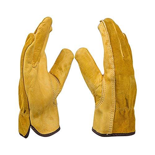 starnearby-Handschuhe, Arbeitshandschuhe, Rindsleder, stichsichere, Abriebfeste Gummi-Gartenhandschuhe
