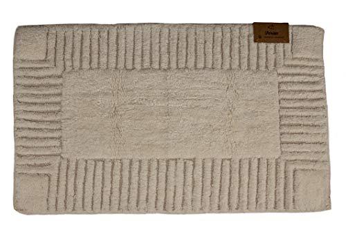 Alfombra de baño, alfombra de ducha de 50 x 80 cm, suave, 100% algodón, lavable a máquina, color crema
