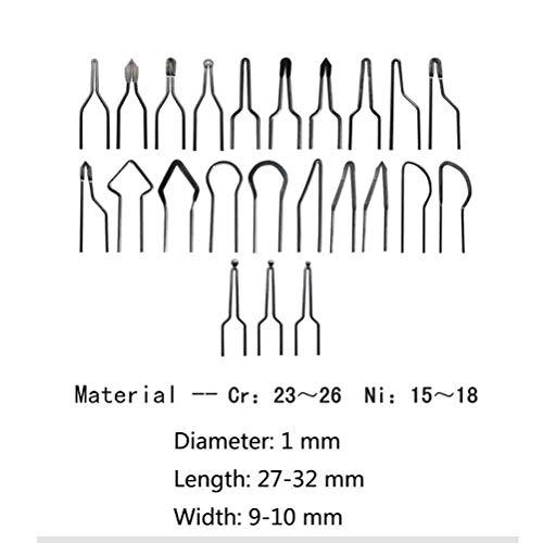 Eleoption, 2 set di 10 punte per fili da pirografia, da 1 mm, 50W