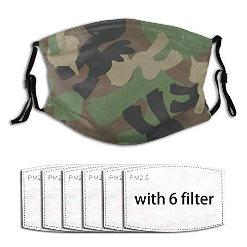 Brony Military Woodland Camo Unisex Comfy Washable Dustproof Mouth Mask, Reusable Dust Cover with Fliters with 6 Filters