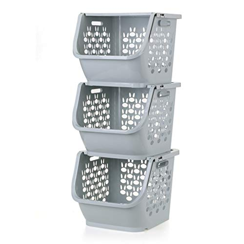WYBFZTT-188 Contenedores apilables para Alimentos, refrigerios, Botellas, Juguetes, artículos de tocador, cestos de plástico (Color : B)