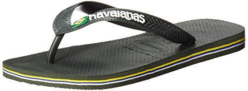 Havaianas Women's Brazil Logo Flip Flop Sandal, Olive Green, 5-6