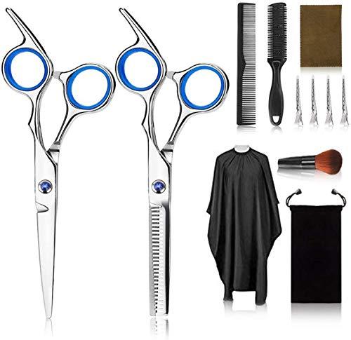 Tijeras de peluquería profesional Kit,12PCS peluquería con tijeras de peine para el...