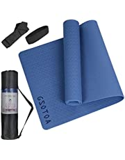 GSOTOA Yoga Mat Non Slip, Thick Yoga Mat Fitness Exercise Mat with Easy-Cinch Yoga Mat Carrier Strap, Tapis Yoga, Workout Mats for Home Gym