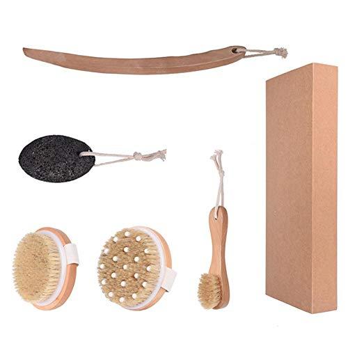 Brosse à sec pour le corps, brosse de massage pour le corps exfoliation 4PCS, brosse pour le visage et pierre ponce pour retirer le kit de brosse à peau morte avec longue poignée amovible