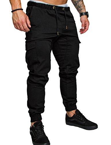 SOMTHRON Herren Elastische Taille Gürtel Baumwolle Jogging Sweat Hosen Plus Size Mode Lange Sports Cargo Hosen Shorts mit Taschen Joggers Activewear Hosen, Black, M