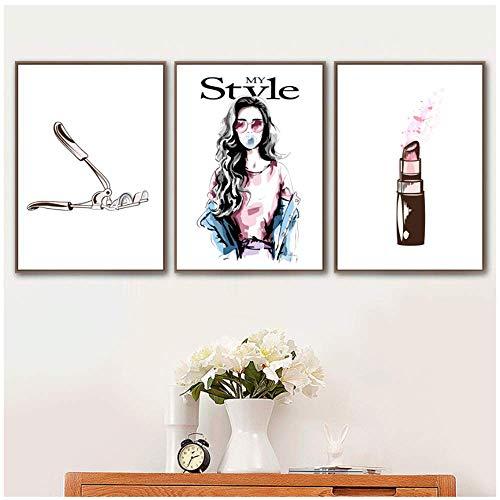 Preisvergleich Produktbild XingChen Wunderschönes Bild 3x40x60cm ohne Rahmen Mädchen Parfüm Lippenstift Nagellack Make-up Nordische Poster und Drucke Wandbilder für Wohnzimmer Dekor