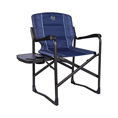 TIMBER RIDGE Aluminum Folding Directors Chair Full Back Padded with Side Table for Outdoor, Camping, Patio Lawn, Heavy Duty Supports 350 lb.