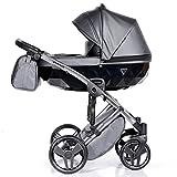 Junama passeggino combinato passeggino premium buggy porta bebè + accessori Isofix selezionabile Fluo Line di Ferriley & Fitz Silver 05 3in1 con seggiolino